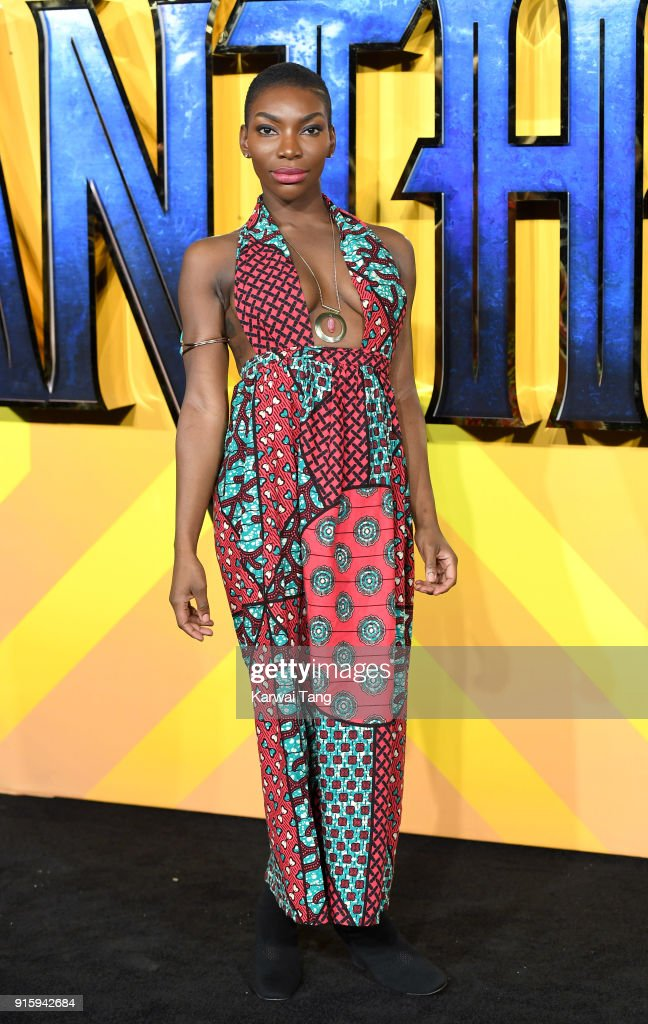 Michaela Coel attends the European Premiere of 'Black Panther' at Eventim Apollo on February 8, 2018 in London, England.