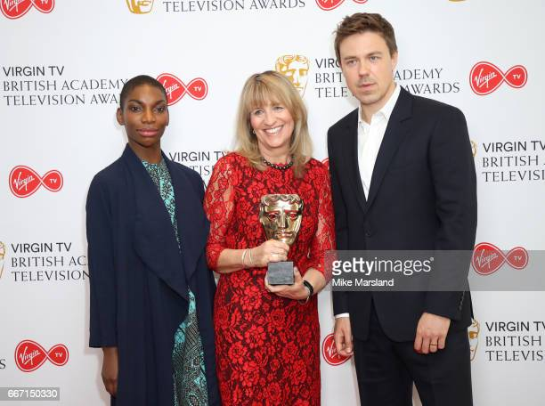 Michaela Coel Jane Lush and Andrew Buchan attend the nominations announcement for the Virgin TV British Academy Television Awards at BAFTA on April...