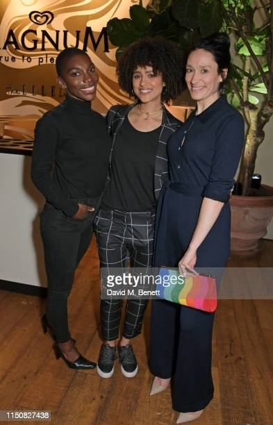 Michaela Coel Nathalie Emmanuel and Sian Clifford celebrate The ELLE List in association with MAGNUM ice cream on June 19 2019 in London England
