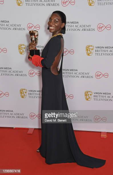 """Michaela Coel, winner of the Best Actress award for """"I May Destroy You"""", poses in the Winners Room at the Virgin Media British Academy Television..."""