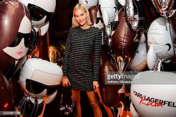 <Michaela D'Angelo celebrates the launch of the Karl x Kaia collaboration capsule collection on October 2 2018 in Paris France