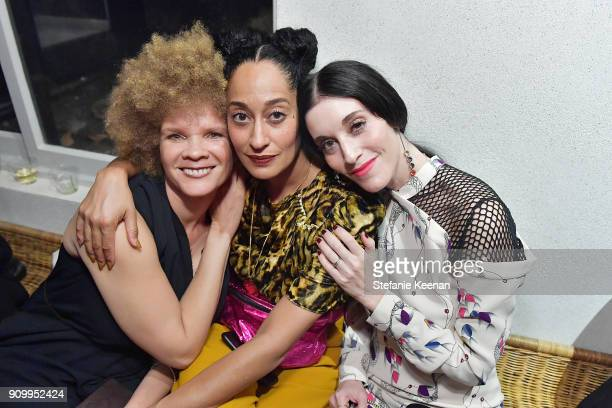 Michaela Davis Tracee Ellis Ross and Sarah Sophie Flicker attend Conde Nast The Women March's Cocktail Party to Celebrate the One Year Anniversary of...