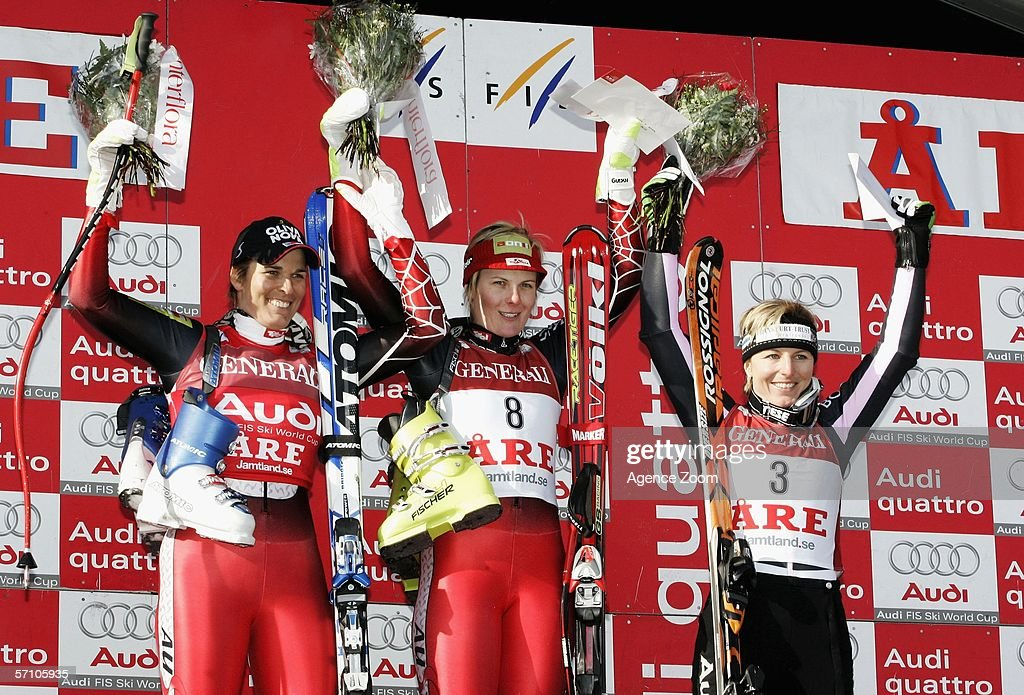 Michaela Dorfmeister, Nicole Hosp and Martina Ertl-Renz pose on the podium for the FIS Skiing World Cup Super-G on March 16, 2006 in Aare, Sweden