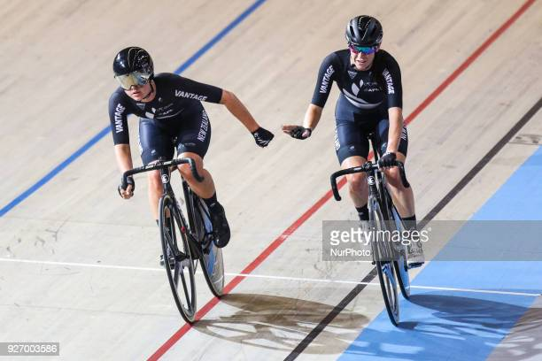 Michaela Drummond and Racquel Sheath Women`s madison during the UCI Track Cycling World Championships in Apeldoorn on March 3 2018