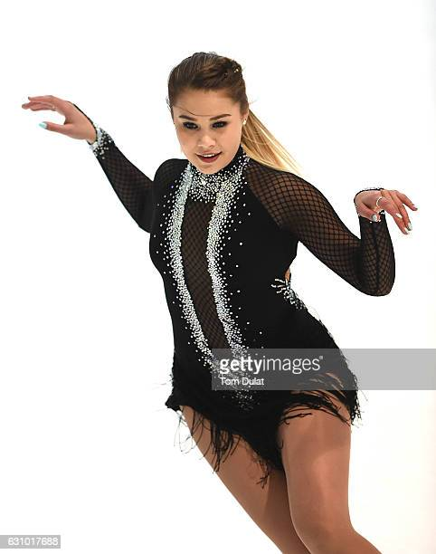 Michaela Du Toit of South Africa competes during FBMA Trophy for Figure Skating 2017 at Zayed Sports City on January 5, 2017 in Abu Dhabi, United...