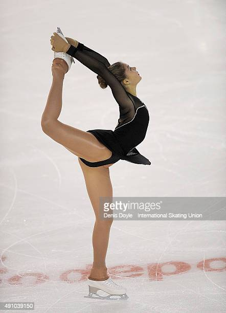 Michaela Du Toit of South Africa performs in the junior ladies free skating exercise at the ISU Junior Grand Prix of Figure Skating Logrono on...