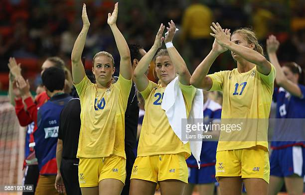 Michaela Ek of Sweden, Isabelle Gullden of Sweden and Linnea Torstensson of Sweden are looking dejected after loosing the Womens Preliminary Group B...