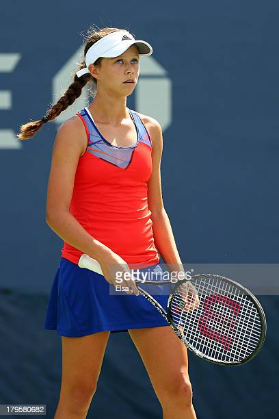 Michaela Gordon of the United States of America looks on during her girls' singles third round match against Louisa Chirico of the United States of...