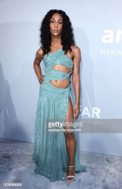 Michaela Jaé Rodriguez attends the amfAR Cannes Gala 2021 at Villa Eilenroc on July 16, 2021 in Cap d'Antibes, France.