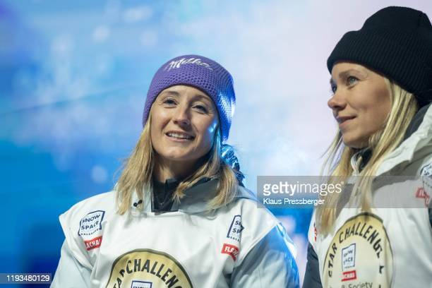 Michaela Kirchgasser of Austria and Frida Hansdotter of Sweden during the FIS Ski World Cup Women's Alpine Combined bib draw on January 13 2020 in...