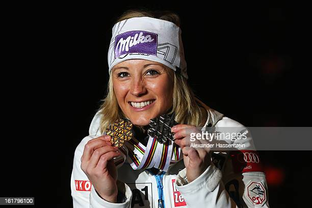 Michaela Kirchgasser of Austria celebrates at the medal ceremony with her silver medal after finishing second in the Women's Slalom during the Alpine...
