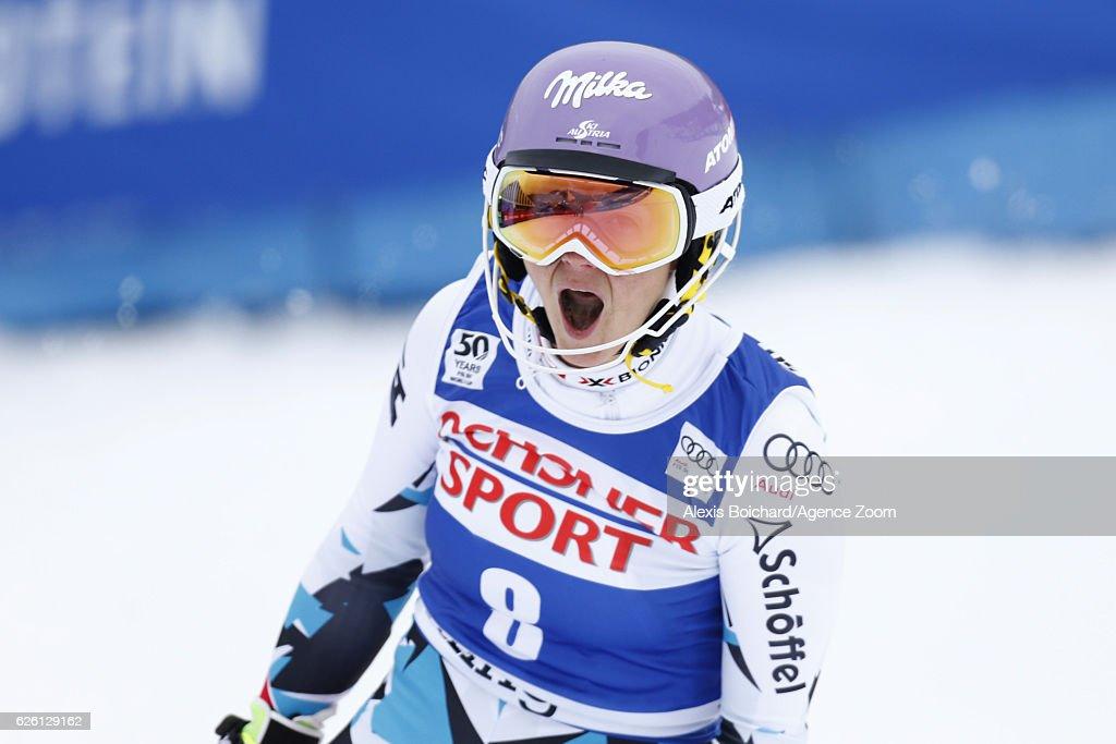 Michaela Kirchgasser of Austria celebrates during the Audi FIS Alpine Ski World Cup Women's Slalom on November 27, 2016 in Killington, Vermont.