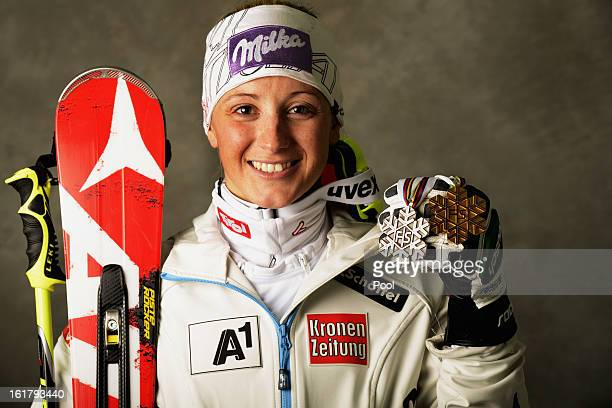 Michaela Kirchgasser of Austria celebrates with her silver medal after finishing second in the Women's Slalom during the Alpine FIS Ski World...
