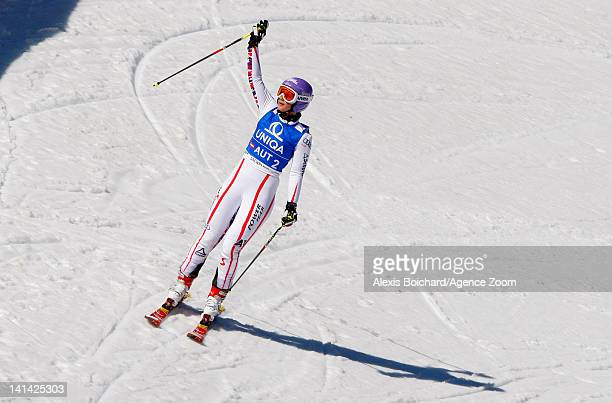 Michaela Kirchgasser of Austria competes during the Audi FIS Alpine Ski World Cup Nations Team Event on March 16 2012 in Schladming Austria