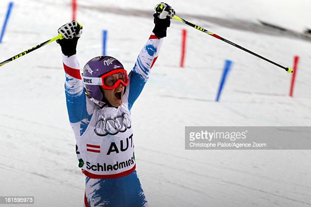 Michaela Kirchgasser of Austria competes during the Audi FIS Alpine Ski World Championships Nation's Team Event on February 12 2013 in Schladming...