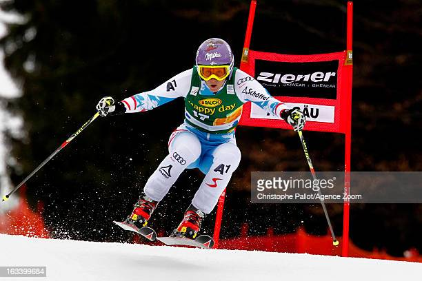 Michaela Kirchgasser of Austria competes during the Audi FIS Alpine Ski World Cup Women's Giant Slalom on March 9 2013 in Ofterschwang Germany