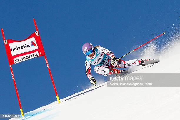 Michaela Kirchgasser of Austria competes during the Audi FIS Alpine Ski World Cup Finals Men's Slalom and Women's Giant Slalom on March 20 2016 in St...