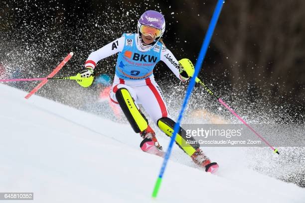 Michaela Kirchgasser of Austria competes during the Audi FIS Alpine Ski World Cup Women's Alpine Combined on February 24 2017 in Crans Montana...