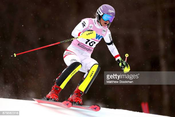 Michaela Kirchgasser of Austria competes in the first run during the Slalom competition during the Audi FIS Ski World Cup Killington Cup on November...