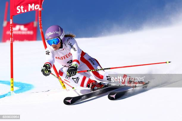 Michaela Kirchgasser of Austria competes in the Women's Giant Slalom during the FIS Alpine World Ski Championships on February 16 2017 in St Moritz...