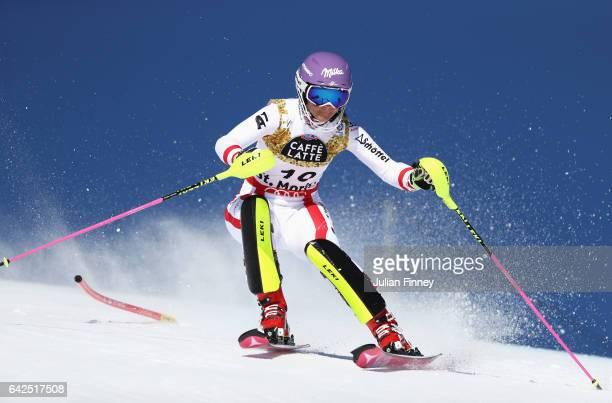 Michaela Kirchgasser of Austria competes in the Women's Slalom during the FIS Alpine World Ski Championships on February 18 2017 in St Moritz...