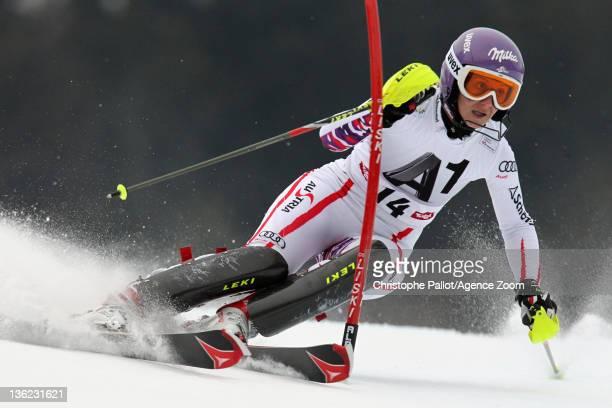 Michaela Kirchgasser of Austria in action during the Audi FIS Alpine Ski World Cup Women's Slalom on December 29 2011 in Lienz Austria