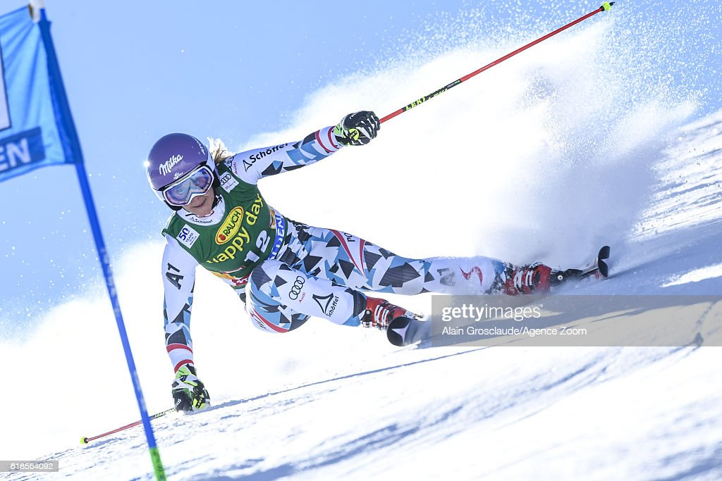 Michaela Kirchgasser of Austria in action during the Audi FIS Alpine Ski World Cup Women's Giant Slalom on October 22, 2016 in Soelden, Austria
