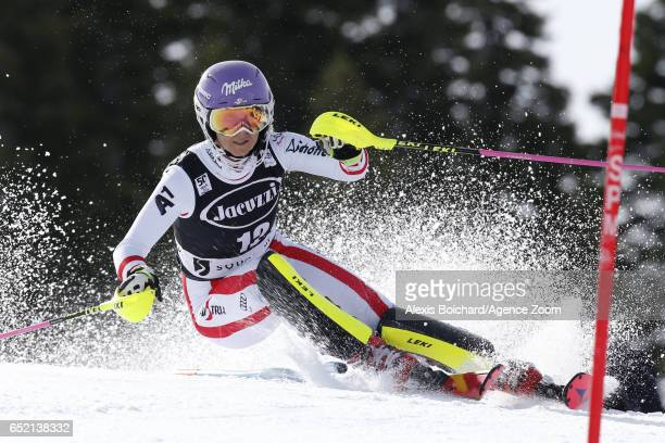 Michaela Kirchgasser of Austria in action during the Audi FIS Alpine Ski World Cup Women's Slalom on March 11 2017 in Squaw Valley California