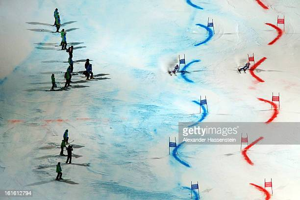 Michaela Kirchgasser of Austria races against Frida Hansdotter of Sweden in the final of the Men and Women's Nations Team Event during the Alpine FIS...