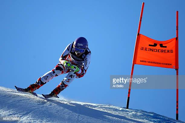 Michaela Kirchgasser of Austria races during the Ladies' Alpine Combined Downhill run on the Raptor racecourse on Day 8 of the 2015 FIS Alpine World...