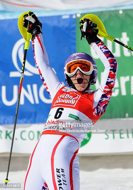 Michaela Kirchgasser of Austria takes 1st place during the Audi FIS Alpine Ski World Cup Women's Slalom on March 17 2012 in Schladming Austria