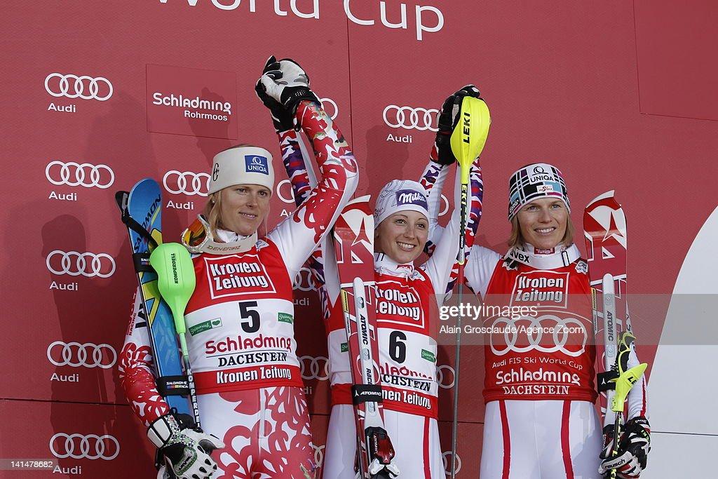 Michaela Kirchgasser of Austria takes 1st place, Veronika Zuzulova of Slovakia takes 2nd place, Marlies Schild of Austria takes 3rd place during the Audi FIS Alpine Ski World Cup Women's Slalom on March 17, 2012 in Schladming, Austria.