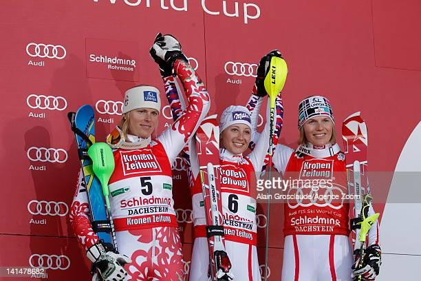 Michaela Kirchgasser of Austria takes 1st place Veronika Zuzulova of Slovakia takes 2nd place Marlies Schild of Austria takes 3rd place during the...