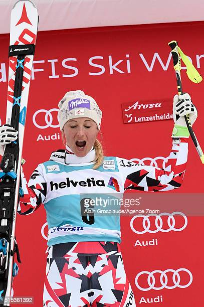 Michaela Kirchgasser of Austria takes 2nd place during the Audi FIS Alpine Ski World Cup Women's Super Combined on March 13 2016 in Lenzerheide...