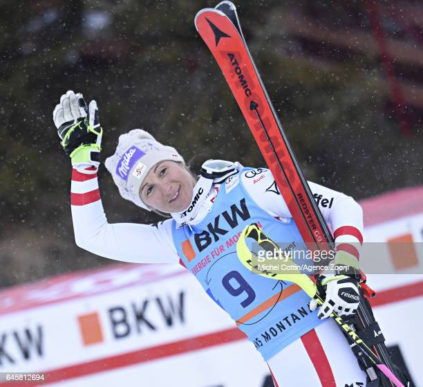Michaela Kirchgasser of Austria takes 3rd place during the Audi FIS Alpine Ski World Cup Women's Alpine Combined on February 24 2017 in Crans Montana...