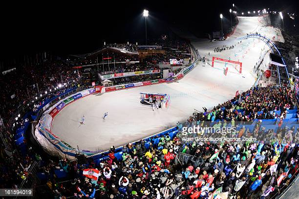Michaela Kirchgasser of Austria wins gold against Frida Hansdotter of Sweden during the Audi FIS Alpine Ski World Championships Nation's Team Event...