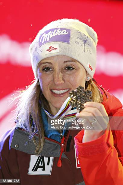 Michaela Kirchgasser of Austria wins the bronze medal during the FIS Alpine Ski World Championships Women's Alpine Combined on February 10 2017 in St...