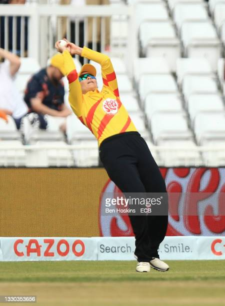 Michaela Kirk of Trent Rockets catches out Smriti Mandhana of Southern Brave during The Hundred game between Trent Rockets and Southern Brave at...