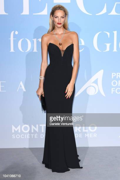 Michaela Kocianova attends the Gala for the Global Ocean hosted by HSH Prince Albert II of Monaco at Opera of MonteCarlo on September 26 2018 in...