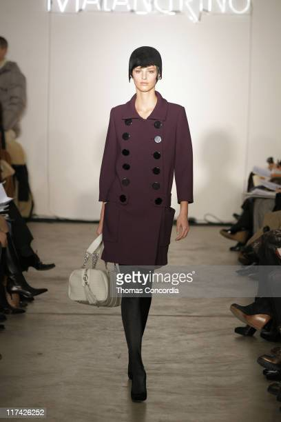 Michaela Kocianova wearing Malandrino Fall 2007 during Mercedes-Benz Fashion Week Fall 2007 - Malandrino - Runway at Chelsea Art Museum in New York...