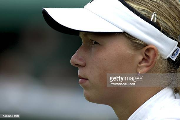Michaela Krajicek of Holland in action against Kristina Czafikova of Slovakia during the Girls' Singles at the Wimbledon Lawn Tennis Championships...