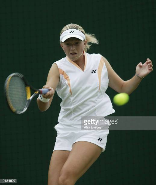 Michaela Krajicek of the Netherlands in action against Anna Tchakvetadze of Russia during the girls third round during day ten of the Wimbledon...