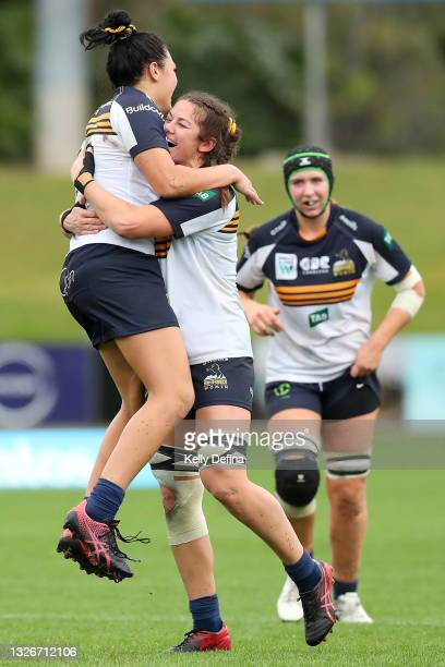 Michaela Leonard of the Brumbies and Teliya Heteraka of the Brumbies celebrate the win during the Super W match between the Melbourne Rebels and the...