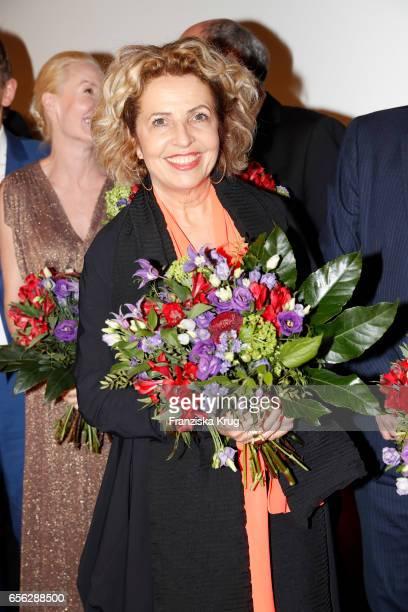Michaela May attends the Deutscher Hoerfilmpreis at Kino International on March 21, 2017 in Berlin, Germany.