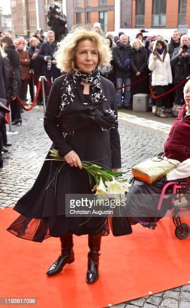 Michaela May during the memorial service for Jan Fedder at Hamburger Michel on January 14 2020 in Hamburg Germany German actor Jan Fedder was...