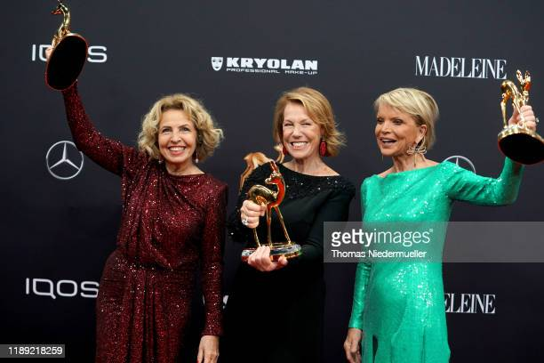 Michaela May Gaby Dohm and Uschi Glas pose with award during the 71th Bambi Awards winners board at Festspielhaus BadenBaden on November 21 2019 in...