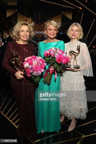 Michaela May, Uschi Glas and Naomi Watts pose with their awards during the 71st Bambi Awards show at Festspielhaus Baden-Baden on November 21, 2019...