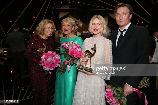 Michaela May, Uschi Glas, Naomi Watts, Oliver Masucci with award during the 71st Bambi Awards final applause at Festspielhaus Baden-Baden on November...
