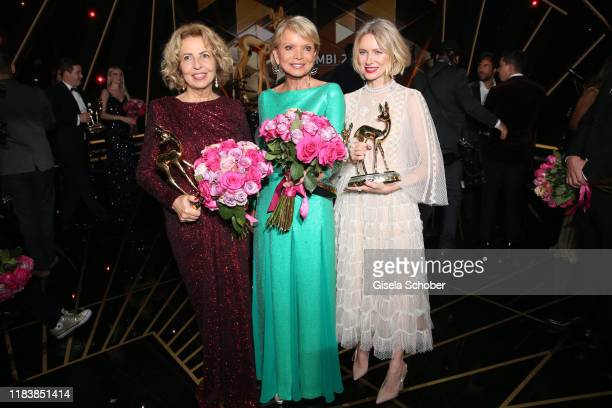 Michaela May, Uschi Glas, Naomi Watts with award during the 71st Bambi Awards final applause at Festspielhaus Baden-Baden on November 21, 2019 in...