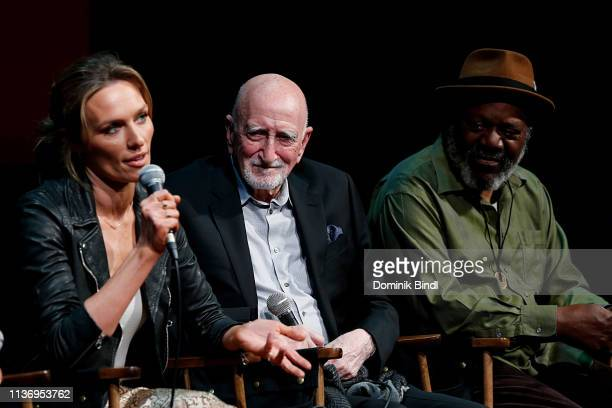Michaela McManus, Dominic Chianese and Frankie Faison attend the SAG-AFTRA Foundation Conversations: 'The Village' at The Robin Williams Center on...